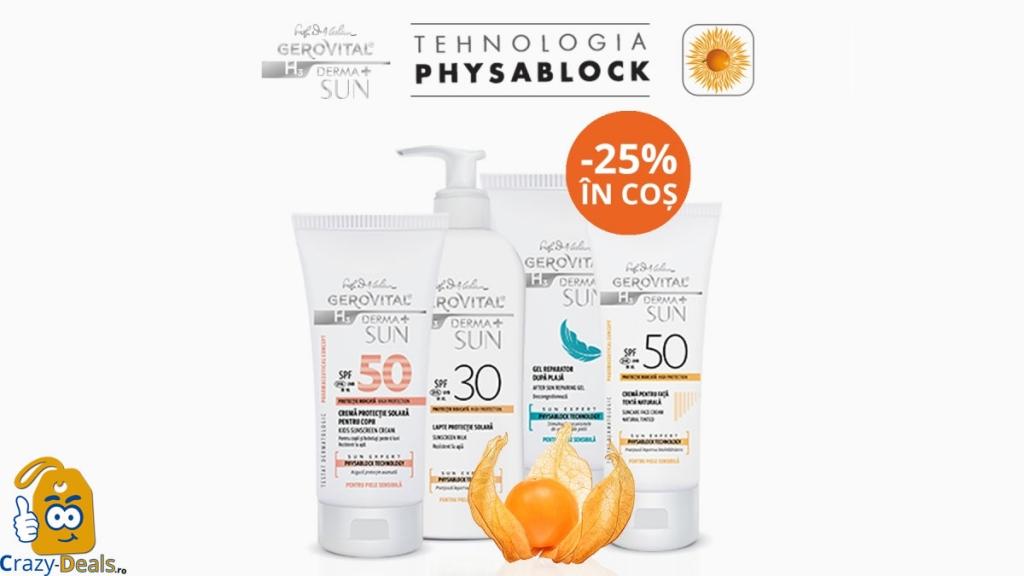 25% Reducere la Gerovital Derma+ Sun Expert pe Farmec