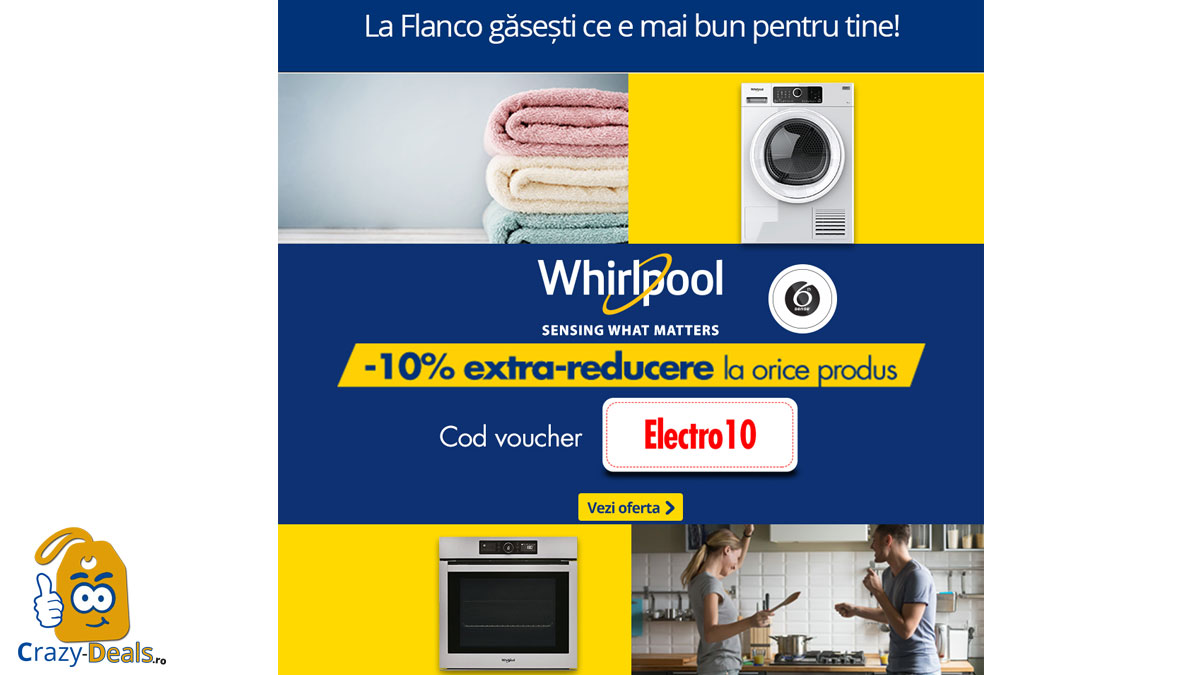 Cod voucher -10% extra-reducere la electrocasnicele Whirpool