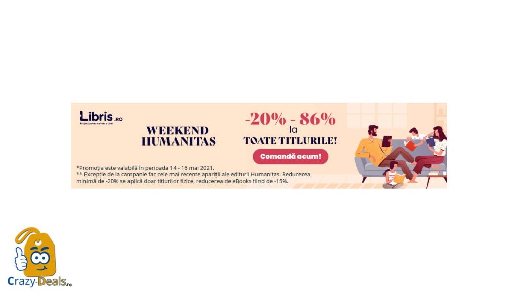 Humanitas cu -20% -86% la toate titlurile pe Libris!