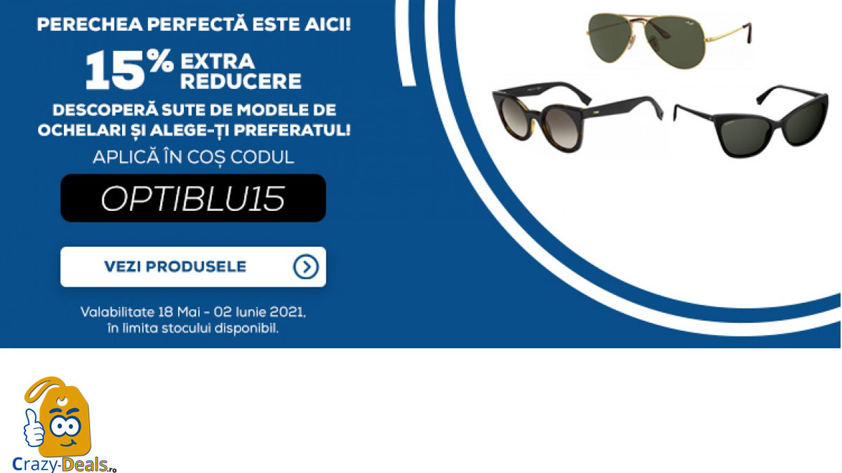 Voucher OPTIblu 15% extra-reducere ochelari soare