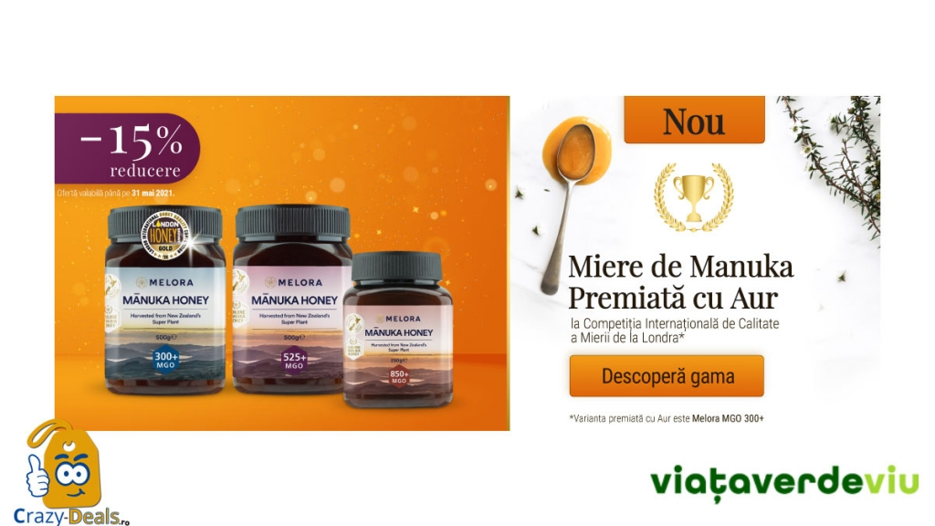 Promotie VVV 15% Reducere la Mierea de Manuka Melora
