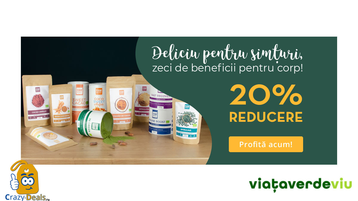 Promotie VVV 20% Reducere la alimente şi suplimente ecologice Rawboost