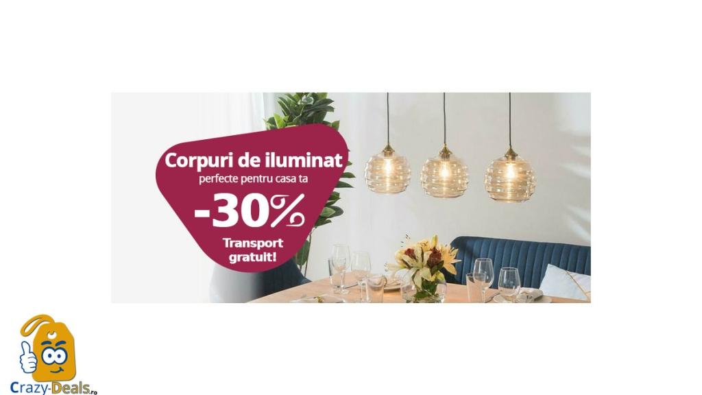 -30% reducere la corpuri de iluminat pe Chilipirul-Zilei.ro