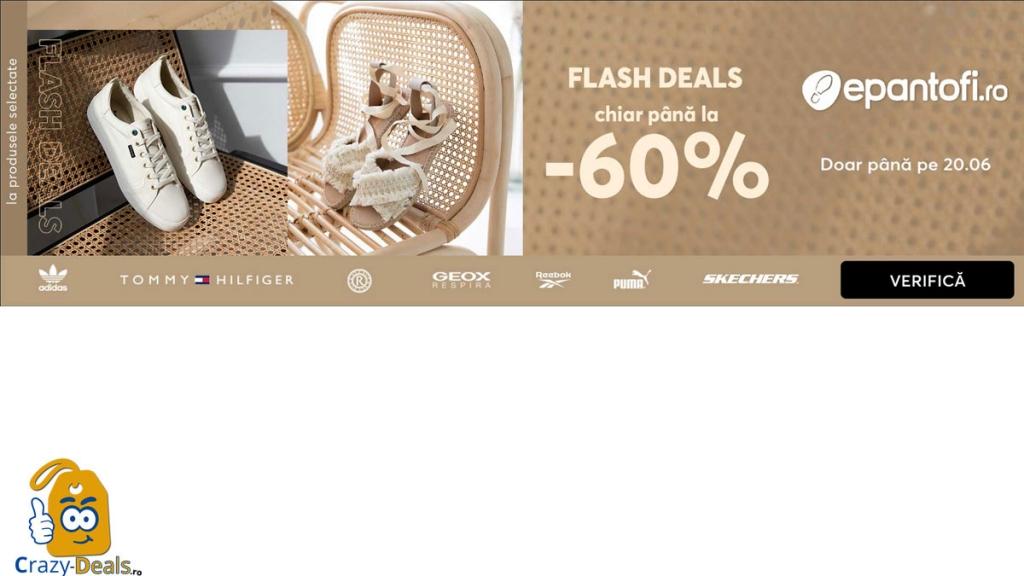 Crazy-Deasl.ro - Cod reducere de pana la 60% pe Epantofi