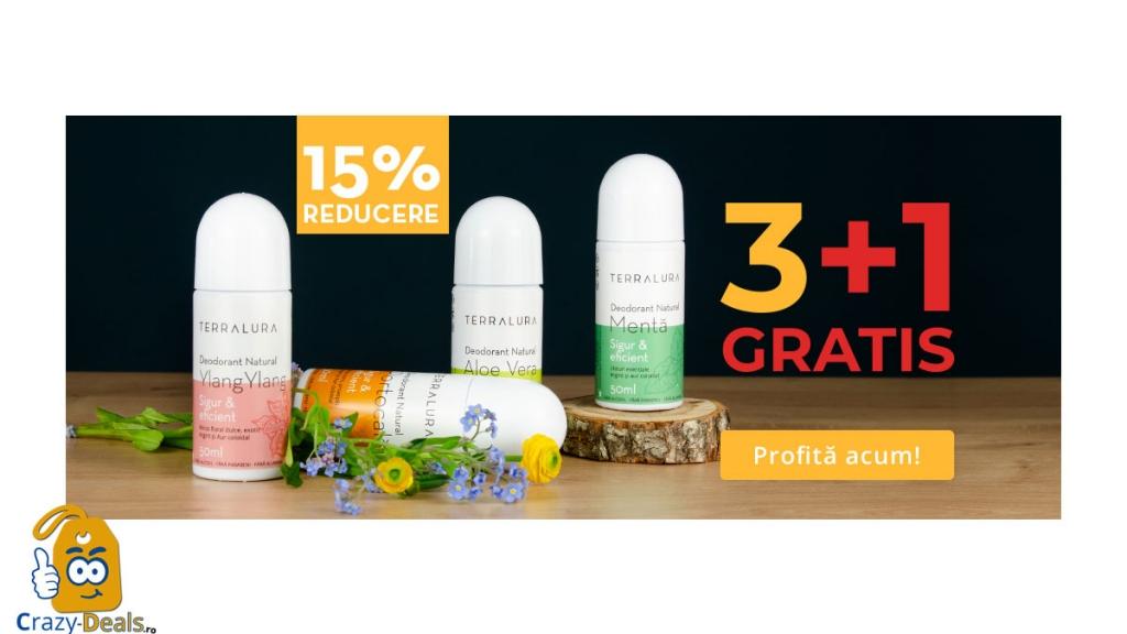 Promotie VVV -15% Reducere la toate deodorantele TERRALURA