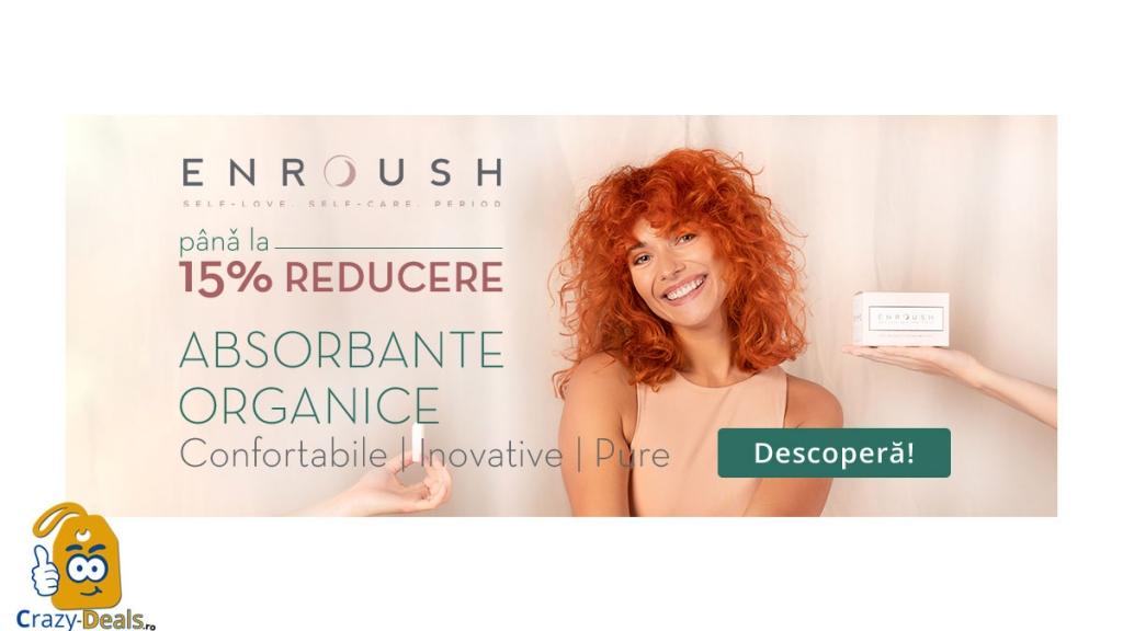 Promotie VVV -15% Reducere la tampoanele și absorbantele organice ENROUSH