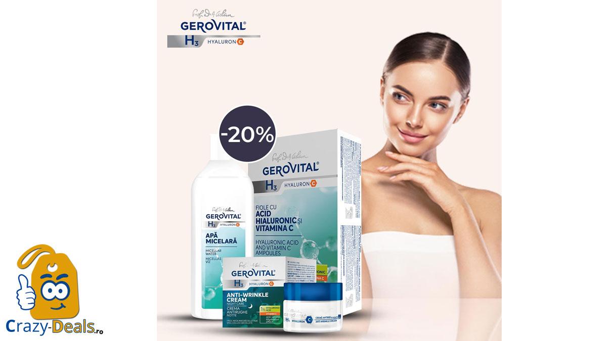 20% Reducere la 2 produse Gerovital H3 Hyaluron C pe Farmec